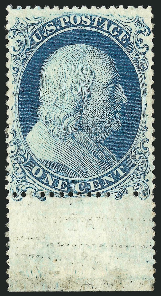 US Stamp Values Scott Cat. # 19: 1857 1c Franklin. Robert Siegel Auction Galleries, Apr 2015, Sale 1096, Lot 40