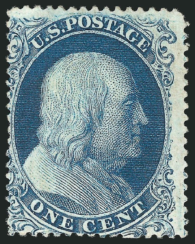 Values of US Stamps Scott Cat. 19 - 1857 1c Franklin. Robert Siegel Auction Galleries, Apr 2015, Sale 1096, Lot 41