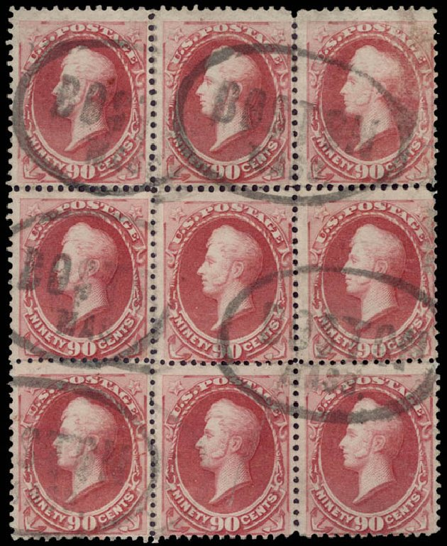 Values of US Stamps Scott Catalogue 191 - 90c 1879 Perry. Daniel Kelleher Auctions, May 2015, Sale 669, Lot 2675