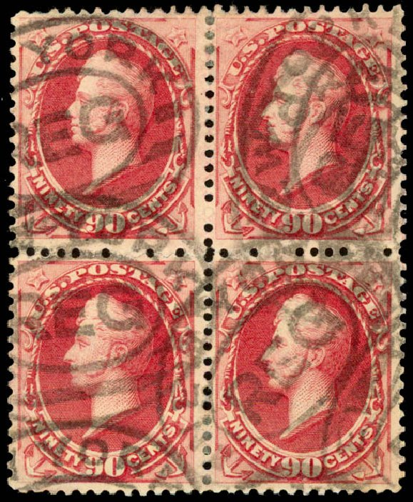 US Stamp Values Scott #191 - 90c 1879 Perry. Daniel Kelleher Auctions, Aug 2015, Sale 672, Lot 2446