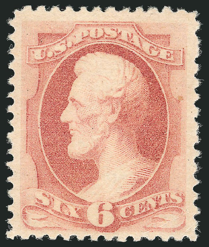 US Stamp Values Scott # 195 - 1880 6c Lincoln Special Printing. Robert Siegel Auction Galleries, Dec 2012, Sale 1036, Lot 128