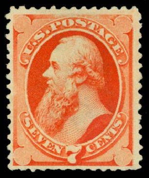 US Stamp Values Scott Catalog # 196: 7c 1880 Stanton Special Printing. Daniel Kelleher Auctions, Dec 2014, Sale 661, Lot 174