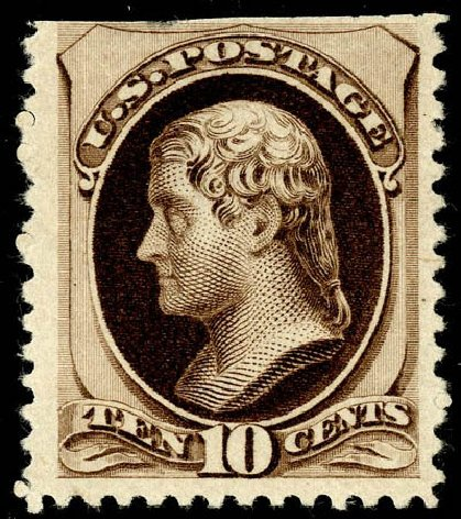 Values of US Stamp Scott Catalog # 197 - 10c 1880 Jefferson Special Printing. Matthew Bennett International, May 2008, Sale 327, Lot 198