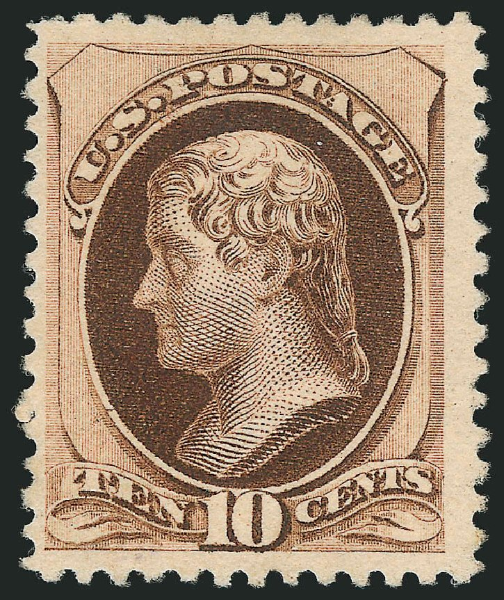 Prices of US Stamp Scott Catalog # 197: 1880 10c Jefferson Special Printing. Robert Siegel Auction Galleries, Apr 2015, Sale 1096, Lot 349