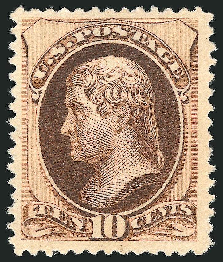 US Stamp Value Scott Catalog # 197: 1880 10c Jefferson Special Printing. Robert Siegel Auction Galleries, Dec 2012, Sale 1036, Lot 130
