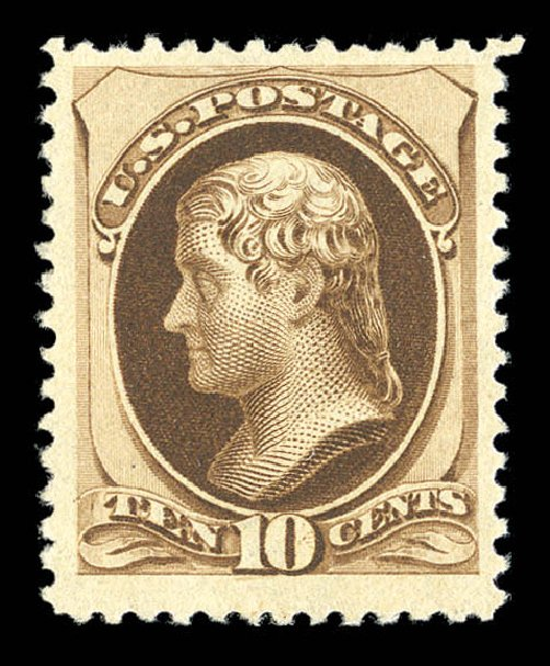 US Stamp Value Scott # 197 - 1880 10c Jefferson Special Printing. Matthew Bennett International, Sep 2012, Sale 345, Lot 231