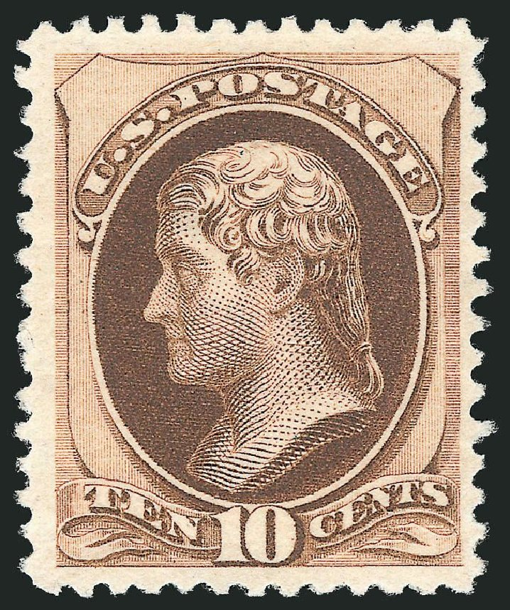 US Stamp Values Scott 197 - 10c 1880 Jefferson Special Printing. Robert Siegel Auction Galleries, Nov 2013, Sale 1057, Lot 781