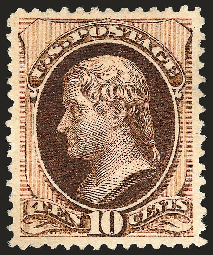 US Stamp Value Scott Cat. # 197 - 1880 10c Jefferson Special Printing. Robert Siegel Auction Galleries, Oct 2008, Sale 963, Lot 821