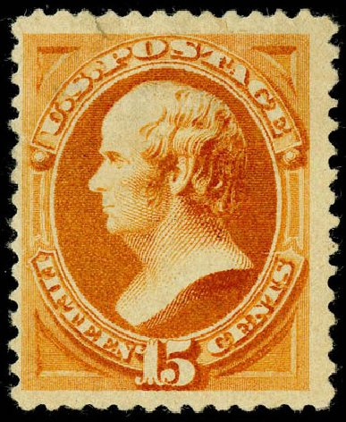 Values of US Stamps Scott Catalogue 199 - 1880 15c Webster Special Printing. Matthew Bennett International, May 2008, Sale 327, Lot 200