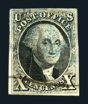 US Stamps Values Scott Cat. 2: 1847 10c Franklin. Harmer-Schau Auction Galleries, Aug 2015, Sale 106, Lot 1244