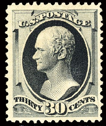 US Stamp Price Scott Catalogue # 201: 1880 30c Hamilton Special Printing. Cherrystone Auctions, Feb 2011, Sale 201102, Lot 64