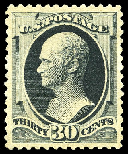 Value of US Stamps Scott Cat. 201: 30c 1880 Hamilton Special Printing. Matthew Bennett International, Sep 2012, Sale 345, Lot 235