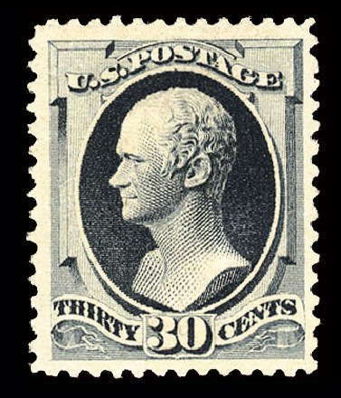 US Stamp Values Scott #201: 1880 30c Hamilton Special Printing. Cherrystone Auctions, Jul 2013, Sale 201307, Lot 53