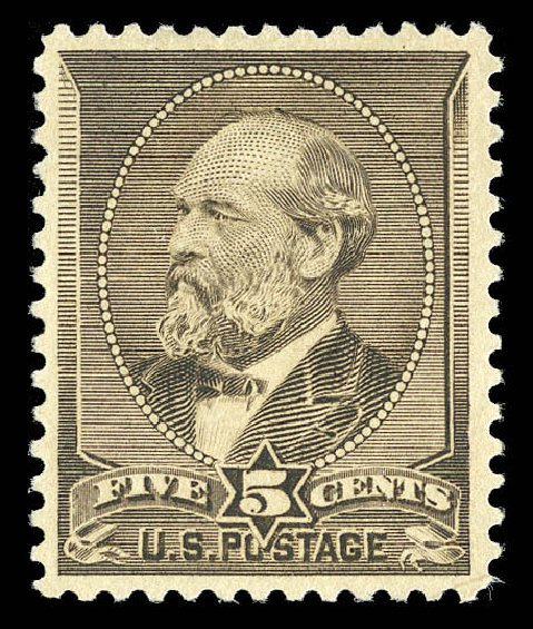 US Stamp Values Scott Catalog 205C: 5c 1882 Garfield Special Printing. Matthew Bennett International, Sep 2012, Sale 345, Lot 238