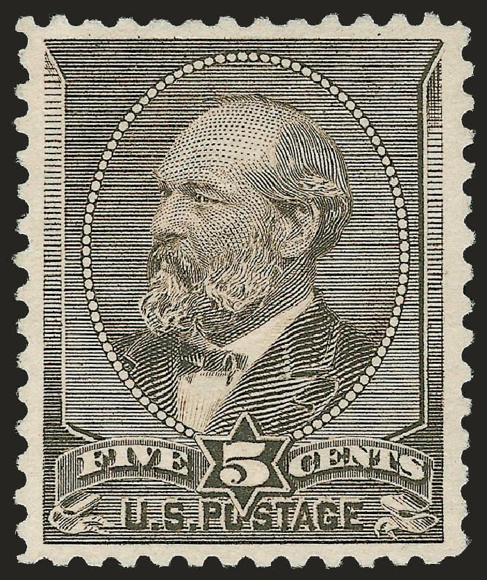 US Stamps Value Scott Catalogue #205C - 1882 5c Garfield Special Printing. Robert Siegel Auction Galleries, Jun 2009, Sale 973, Lot 148