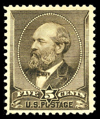 Values of US Stamp Scott Catalogue 205C - 1882 5c Garfield Special Printing. Matthew Bennett International, Feb 2012, Sale 340, Lot 289