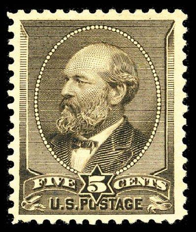 Values of US Stamp Scott Catalogue 205C - 1882 5c Garfield Special Printing. Matthew Bennett International, Feb 2012, Sale 340, Lot 289