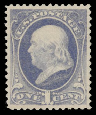 US Stamp Values Scott Cat. # 206 - 1882 1c Franklin. Daniel Kelleher Auctions, May 2015, Sale 669, Lot 2677