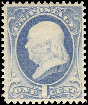 Cost of US Stamps Scott Cat. 206: 1c 1882 Franklin. Regency-Superior, Aug 2015, Sale 112, Lot 351