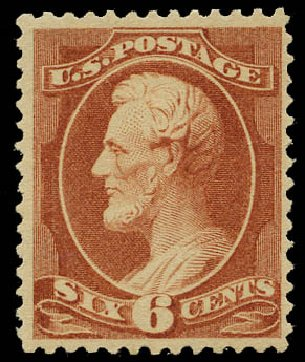Cost of US Stamps Scott Cat. 208 - 1882 6c Lincoln. Daniel Kelleher Auctions, May 2015, Sale 669, Lot 2681