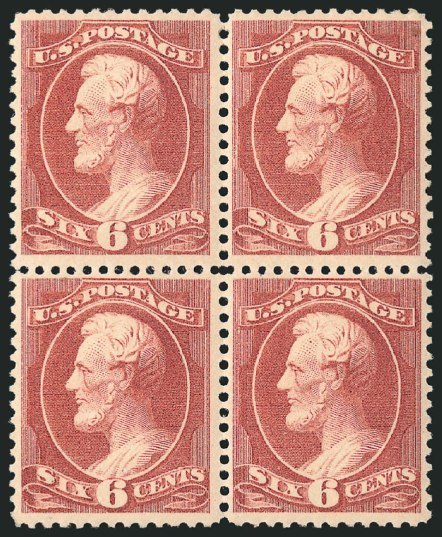 US Stamp Values Scott Cat. # 208 - 6c 1882 Lincoln. Robert Siegel Auction Galleries, Apr 2015, Sale 1096, Lot 364