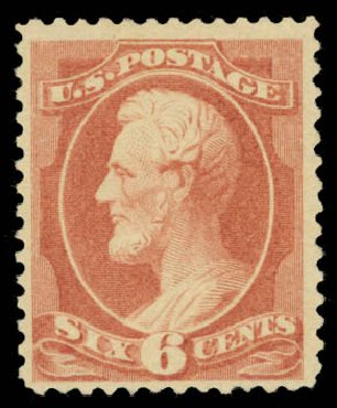 US Stamp Value Scott Cat. # 208: 1882 6c Lincoln. Daniel Kelleher Auctions, Jan 2015, Sale 663, Lot 1425