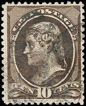 Cost of US Stamp Scott Catalogue #209 - 1882 10c Thomas Jefferson. Regency-Superior, Nov 2014, Sale 108, Lot 387