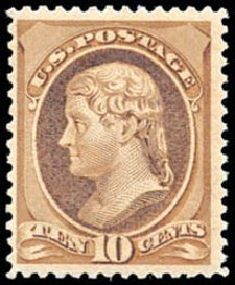 US Stamp Price Scott Catalogue 209 - 1882 10c Thomas Jefferson. Schuyler J. Rumsey Philatelic Auctions, Apr 2015, Sale 60, Lot 2187