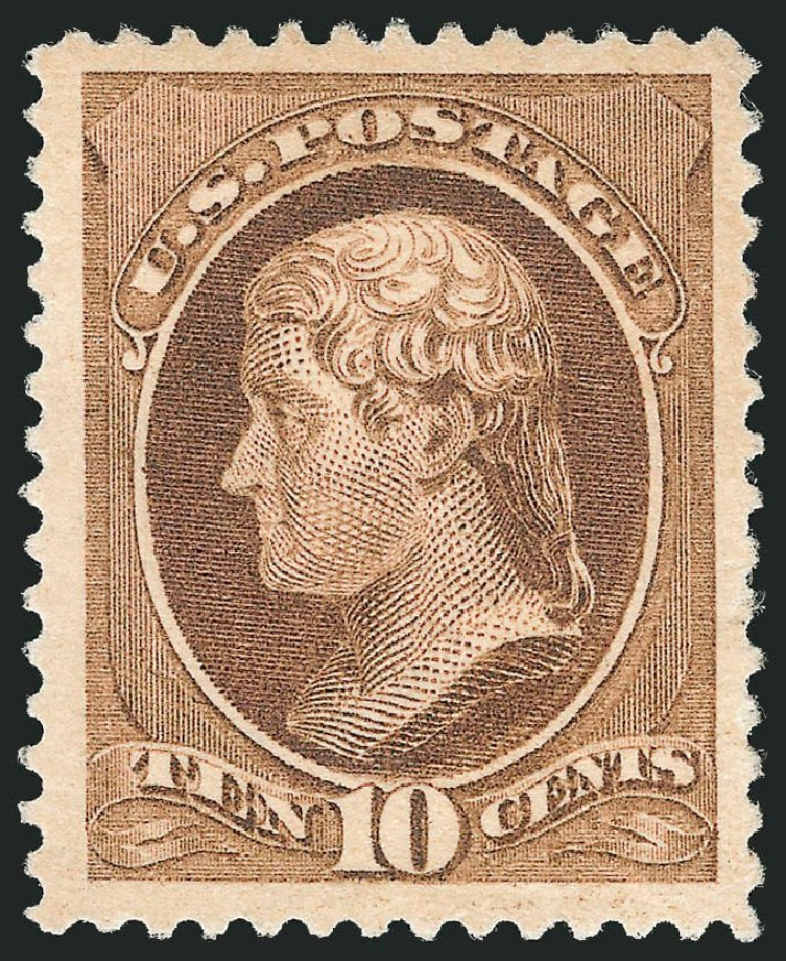 Costs of US Stamp Scott Catalog 209 - 1882 10c Thomas Jefferson. Robert Siegel Auction Galleries, Dec 2014, Sale 1090, Lot 1359