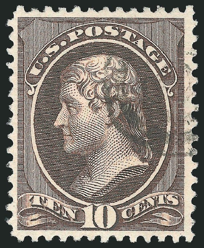 US Stamp Values Scott Cat. # 209 - 1882 10c Thomas Jefferson. Robert Siegel Auction Galleries, Dec 2014, Sale 1090, Lot 1360