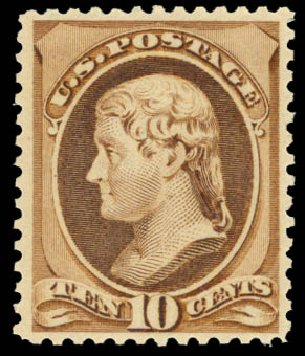 US Stamps Value Scott Catalogue #209: 1882 10c Thomas Jefferson. Daniel Kelleher Auctions, Aug 2015, Sale 672, Lot 2451