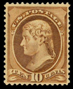 Costs of US Stamp Scott Catalog #209 - 10c 1882 Thomas Jefferson. Daniel Kelleher Auctions, Aug 2015, Sale 672, Lot 2452