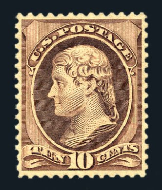 Values of US Stamp Scott Cat. # 209: 10c 1882 Thomas Jefferson. Harmer-Schau Auction Galleries, Aug 2015, Sale 106, Lot 1596