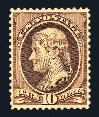 Values of US Stamp Scott Cat. # 209: 10c 1882 Thomas Jefferson. Harmer-Schau Auction Galleries, Aug 2015, Sale 106, Lot 1596