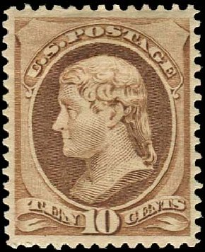 Price of US Stamps Scott Catalog 209: 1882 10c Thomas Jefferson. Regency-Superior, Aug 2015, Sale 112, Lot 356