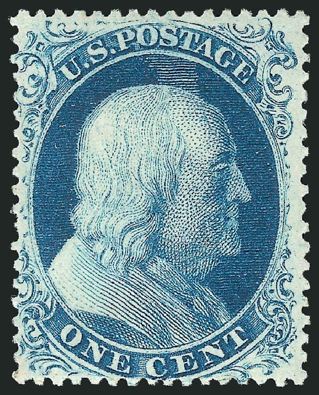 Value of US Stamps Scott # 21 - 1857 1c Franklin. Robert Siegel Auction Galleries, Apr 2015, Sale 1096, Lot 46