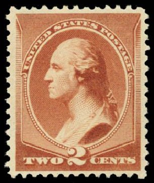 Prices of US Stamp Scott Catalog 210: 1883 2c Washington. Daniel Kelleher Auctions, Dec 2014, Sale 661, Lot 181