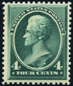 US Stamps Values Scott Cat. 211: 1883 4c Jackson. Harmer-Schau Auction Galleries, Nov 2014, Sale 103, Lot 107