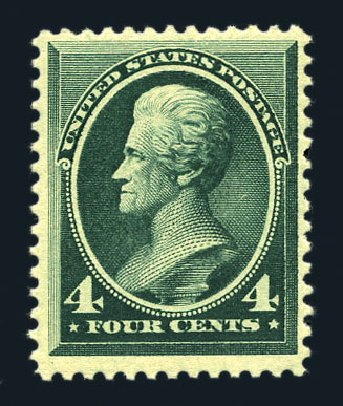 US Stamp Values Scott Catalog # 211 - 1883 4c Jackson. Harmer-Schau Auction Galleries, Aug 2015, Sale 106, Lot 1598