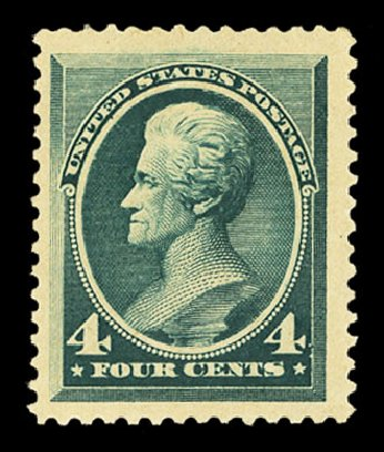 US Stamp Values Scott # 211 - 1883 4c Jackson. Cherrystone Auctions, Nov 2014, Sale 201411, Lot 33