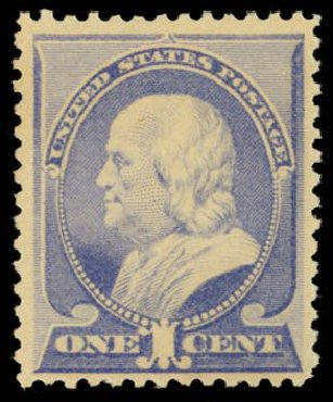 US Stamps Value Scott Catalog #212: 1c 1883 Franklin. Daniel Kelleher Auctions, Dec 2014, Sale 661, Lot 183