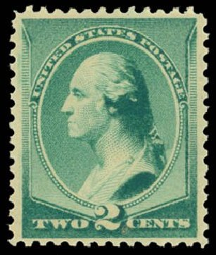US Stamps Values Scott 213: 1883 2c Washington. Daniel Kelleher Auctions, Dec 2014, Sale 661, Lot 184