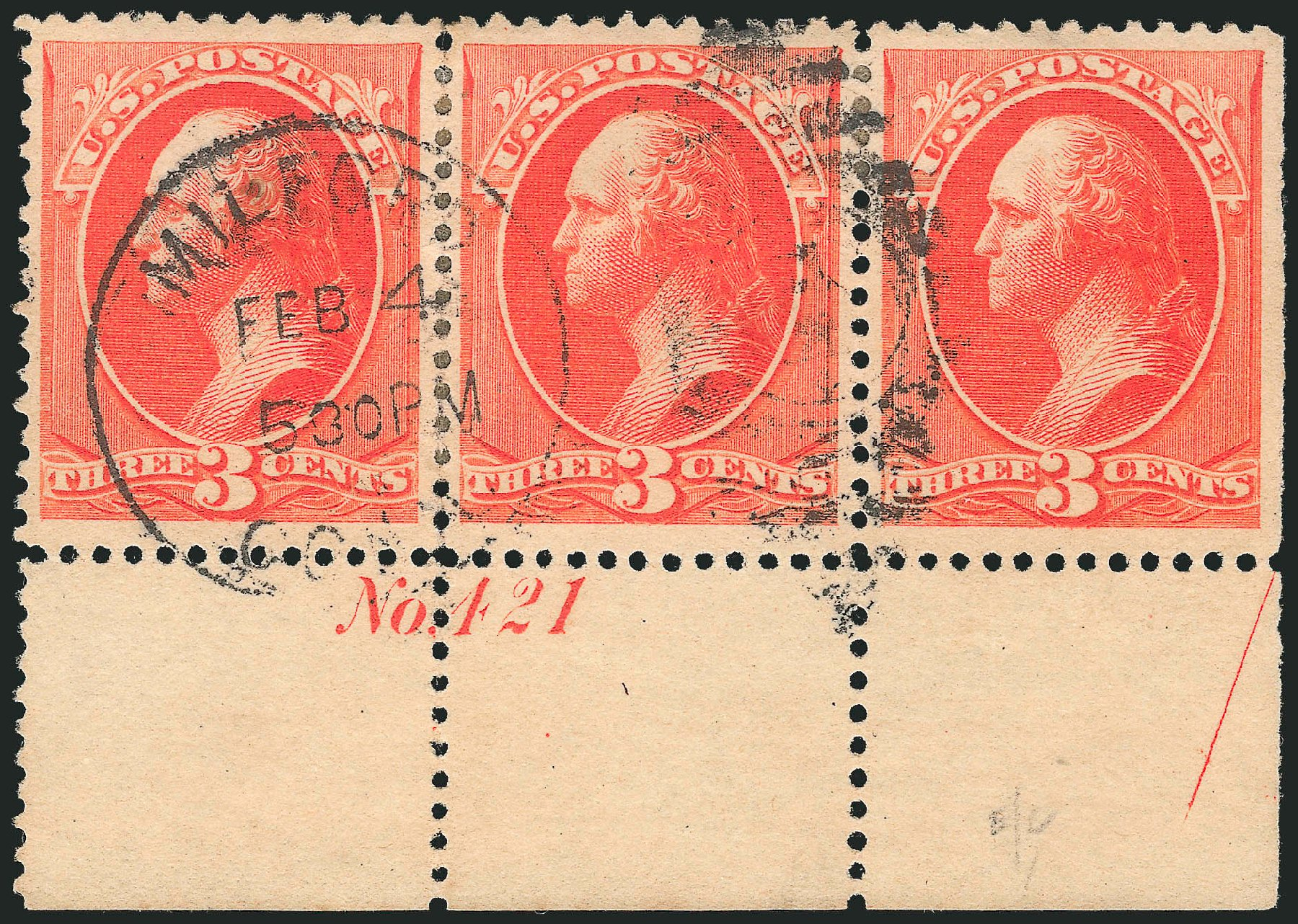 US Stamp Value Scott Catalogue #214: 1883 3c Washington. Robert Siegel Auction Galleries, Dec 2013, Sale 1062, Lot 407