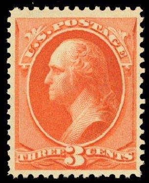 US Stamps Values Scott Cat. #214 - 3c 1883 Washington. Daniel Kelleher Auctions, Oct 2014, Sale 660, Lot 2190