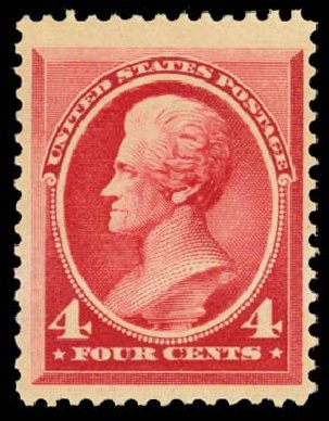 US Stamps Values Scott 215 - 1883 4c Jackson. Daniel Kelleher Auctions, Dec 2014, Sale 661, Lot 187