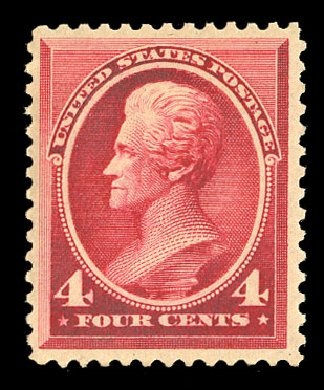 US Stamp Prices Scott Catalogue 215: 1883 4c Jackson. Cherrystone Auctions, Nov 2014, Sale 201411, Lot 38