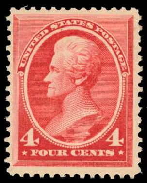 US Stamps Values Scott Catalogue 215 - 1883 4c Jackson. Daniel Kelleher Auctions, Jan 2015, Sale 663, Lot 1431
