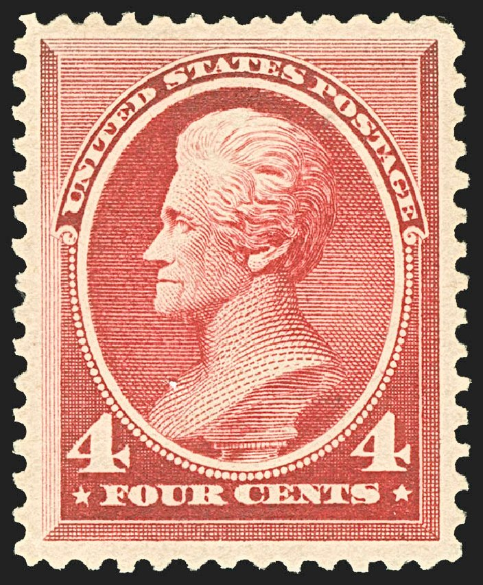 Values of US Stamps Scott Catalogue # 215: 4c 1883 Jackson. Robert Siegel Auction Galleries, Jul 2015, Sale 1107, Lot 291