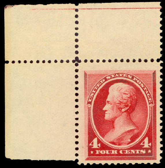 Value of US Stamp Scott Cat. # 215: 4c 1883 Jackson. Daniel Kelleher Auctions, Aug 2015, Sale 672, Lot 2454