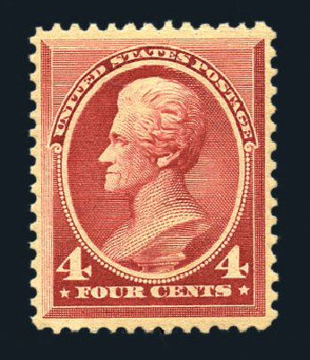Value of US Stamps Scott Catalog 215: 1883 4c Jackson. Harmer-Schau Auction Galleries, Aug 2015, Sale 106, Lot 1603